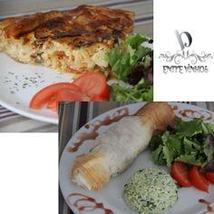 Menu do Dia 30-11-2012  Rolinhos de Carne com Arroz Verde  e  Tarte de Bacalhau com Salada