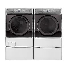 """5.2 cu. ft. Front-Load Washer & 9.0 Front Control Dryer w/ 13.9"""" Laundry Pedestal - White or similarl"""