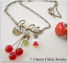 Cherries on a Branch Chain Necklace <3 <3  #CherryJewelry #CherryNecklace #CherryChick #Necklace #BeadedNecklace