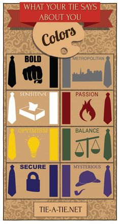Infographic explaining the meaning of your tie color. What does the color necktie you wear say about your personality?