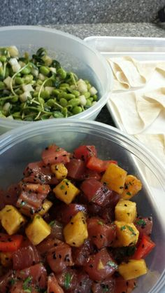 Ahi tuna and pineapple poke with baked won ton chips and an edamame and baby sunflower green salad. Weekly meal prep from Friend That Cooks. Personal chefs in Kansas City and Wichita. www.friendthatcooks.com