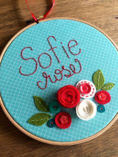 """FELT FLOWERS with NAME- Personalized Girl's Name Embroidery 8"""" Hoop Art made with Felt Flowers and Patterned Fabric by Miss Tweedle"""