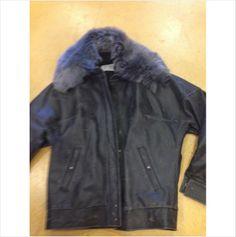 Maison Martin Margiela 1 dark gray leather distressed coat with lamb fur cola