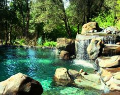 You are able to completely change your backyard into an awesome natural pool with exceptional water features. A natural pool design is a significant extension to your property. Small Pool Design, Pond Design, Design Design, Landscape Design, Garden Design, Pool Piscina, Design Fonte, Waterfall Island, Rock Waterfall
