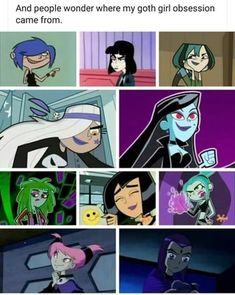 And people wonder where my goth girl obsession came from. Cartoon Crossovers, Cartoon Memes, Cartoon Shows, Cartoon Art, Cartoons, Goth Memes, Dankest Memes, Stupid Funny Memes, Funny Relatable Memes