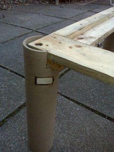 reciclar tubos de cartón como patas de un palet