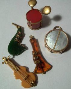 Vintage 1920's Bakelite Charms for Bracelets Music Drum Guitar Horn Violin MOP | eBay