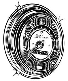 'Speed dial' by Beetle-Ink Poulton Vw Tattoo, Car Tattoos, Vw Bus, Vw Volkswagen, Hot Rods, Kdf Wagen, Vw Vintage, Car Illustration, Pinstriping
