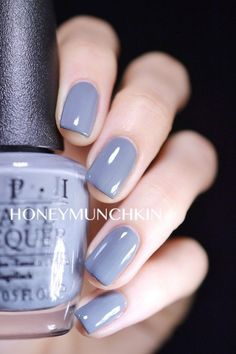 Swatch of OPI – Embrace the Grey from 50 Shades of Grey Collection by honeymunch… - Nail Polish 50 Shades, Shades Of Grey, Pretty Nail Colors, Pretty Nails, Opi Nail Colors, Swatch, Acryl Nails, Gray Nails, Opi Nails