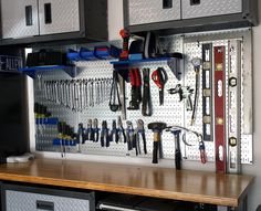 Wall Control Metal Pegboard for garage tool storage and organization not only works great, but it looks great too! Thanks for the great custom photo Randy, nice new setup! #WallControl #Garage #Pegboard #ToolOrganization #ToolStorage #ToolOrganizer