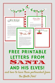 Free printable letters from Santa and his elves and instructions on getting them postmarked from The North Pole easily! Free Printable Santa Letters, Free Letters From Santa, Free Printables, Letter From Santa Template, Christmas Letter From Santa, Christmas Elf, Christmas Crafts, Christmas Ideas, Holiday Ideas