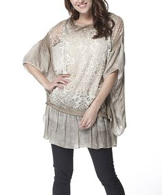 This Simply Couture Khaki Lace Dolman Tunic by Simply Couture is perfect! #zulilyfinds