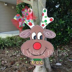 Rudolph Door Hanger / Christmas Door Hanger / Wooden Door Hanger / Christmas Decor / Christmas Gift by paintedskyfirefly on Etsy https://www.etsy.com/listing/255964806/rudolph-door-hanger-christmas-door