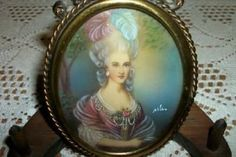 19th CENTURY CHIC FRENCH LADY PORTRAIT PAINTING MINIATURE SHABBY STUNNING BRONZE