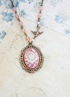 Pink Cameo Necklace Ivory and Pink Rose Pendant by apocketofposies