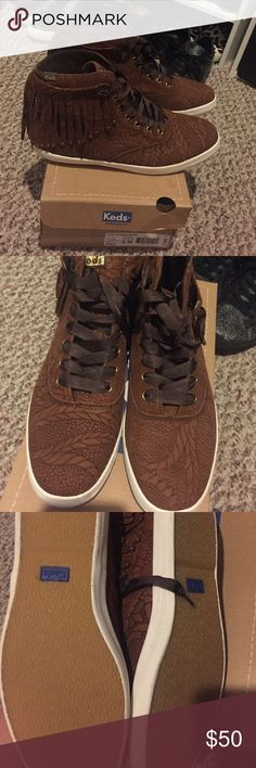 Keds Brown Fringe High tops 8 W New! Fringe is in so these are a must have for the season. Keds Shoes Sneakers