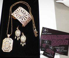 Paula Abdul Crystal Gold Neclace Cuff Bracelet Pierced Earrings New in Box HSN