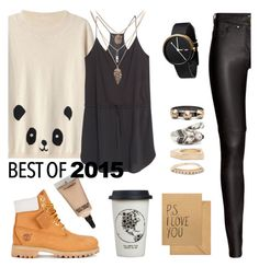 """""""2015"""" by annastifler ❤ liked on Polyvore featuring Iosselliani, H&M, Sugar Paper, MAC Cosmetics, MANGO, Timberland, Natural Life, Leather, Sweater and panda"""