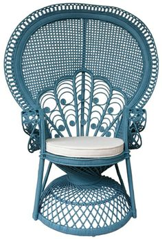 Peacock rattan chair with cushion with ocean blue color code : WN108RN