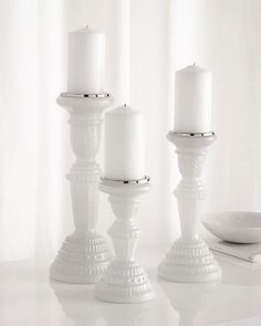 Milky Glass Pillar Candleholders, 3-Piece Set