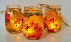 Fall mason jar crafts - 25 fall craft ideas using mason jars. Mason jar crafts for fall. Kids craft idea for fall. Fall decor using mason jars. Fall Mason Jars, Mason Jar Crafts, Mason Jar Diy, Mason Jar Candle Holders, Mason Jar Candles, Fall Candles, Diy Candles, Leaf Crafts, Diy And Crafts