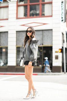 Ruffle Ruffles :: Cutout bomber jacket & T-strap pumps Street Chic, Street Style, Karen Walker Sunglasses, Wendy's Lookbook, Raining Men, Girl Fashion, Womens Fashion, I Dress, Casual Looks