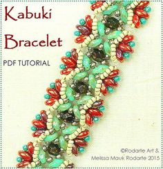 PDF full color instructions/ bead weaving withCzech firepolish glass, super duos and seed beads ~ Kabuki Bracelet