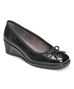 Look what I found on #zulily! Black Tembassy Wedge by A2 by Aerosoles #zulilyfinds  i like the look of flats, but i also like to have a little height added to my short stature... these are awesome! :)