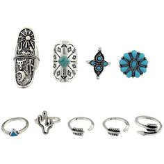 Engraved Sun Moon Triangle Cactus Ring Set ($3.97) ❤ liked on Polyvore featuring jewelry, rings, accessories, set rings, engraved jewellery, triangle jewelry, engraved rings and engraved jewelry