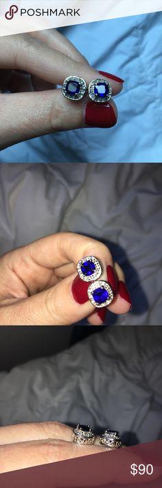 Sapphire Filigree Stud Earrings Blue stone set in Filigree embellished sterling silver. Open to offers. Jewelry Earrings