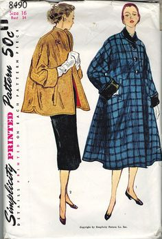 1950s womens coat patterns | Simplicity 8490 Vintage 1950s SWING COAT & TOPPER Sewing Pattern