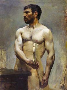 """""""Desnudo masculino"""", Manuel Benedito y Vives (1875-1963)."""
