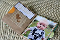 make a brag book out of brown paper bags. its like a mini scrapbook to carry around! perfect for grandma @Mary Blackwell