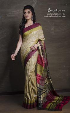 Printed Tussar Silk Saree in Moss Green, Maroon and Black Tussar Silk Saree, Mulberry Silk, Sari, Printed, Green, Collection, Black, Fashion, Saree