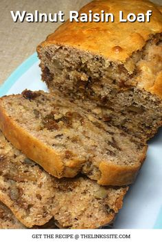This Walnut Raisin Loaf is the tastiest ever! It's packed with sweet juicy raisins, delicious apple, and crunchy walnuts. Raisin Recipes, Apple Cake Recipes, Loaf Recipes, Easy Bread Recipes, Banana Bread Recipes, Cheesecake Recipes, Cupcake Recipes, Sweet Recipes, Baking Recipes