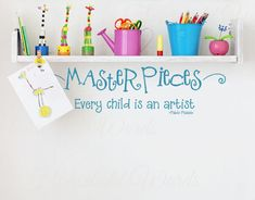 Pablo Picasso Quote Every Child is an Artist and  Masterpieces Vinyl wall Decal words  24 X 7 on Etsy, $15.00