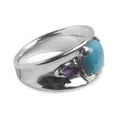 Amazon.com: Southwest Spirit Sterling Silver Sleeping Beauty Turquoise Amethyst Ring: Southwest Spirit: $44.98