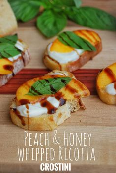 The perfect summer appetizer: Peach and Honey Whipped Ricotta Crostini Recipe. Best Appetizers, Appetizer Recipes, Appetizer Ideas, Canapes Ideas, Light Appetizers, Potluck Recipes, Party Appetizers, Party Snacks, Ricotta