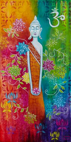 """Buddha of the Seventh Chakra"" by Susan Farrell puede ser aproxima sacar el ohm. Lotus Buddha, Art Buddha, Buddha Painting, Yoga Studio Design, Chakra Art, Zen Meditation, Jolie Photo, Hamsa, Art Plastique"