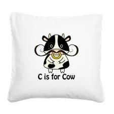 C is for Cow Square Canvas Pillow