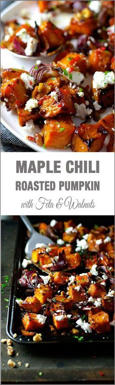 Maple Roasted Pumpkin with Chili and Feta !!!! yum!! a dash of maple syrup creates extra caramelisation and the chili adds a great kick!!