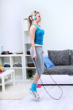 Avoid gym membership fees and pricey equipment with these At-Home Workouts!! Get in amazing shape - all you need is space and a few inexpensive items! #workout #fitness #skinnyms