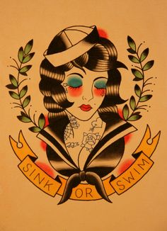 Sink or Swim Tattoo Flash | KYSA #ink #design #tattoo