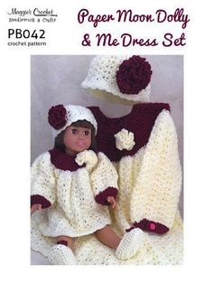 Maggie's Crochet Paper Moon Dolly & Me Dress Set - patterns Crochet Dress Girl, Crochet Doll Clothes, Girl Doll Clothes, Crochet Dolls, Girl Dolls, Crochet Dresses, Barbie Clothes, Crochet For Kids, Free Crochet