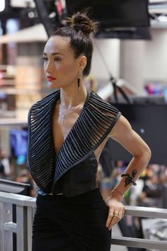 NIKITA's Maggie Q in superspy black after the show's final Comic-Con signing in the Warner Bros. booth #CWSDCC #WBSDCC (©2013 WBEI. All Rights Reserved.)