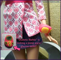 Diabetic Barbie is rocking a pump and a glucometer!     Check out the FB page > https://www.facebook.com/DiabeticBarbie