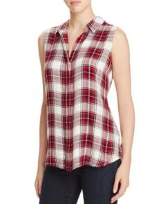 A remix on the classic plaid shirt, this sleeveless style from BeachLunchLounge features an inverted pleat with button closures along the back. | Rayon | Machine wash | Imported | Fits true to size, o