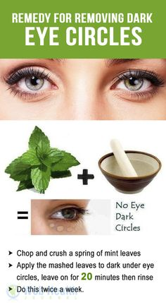 Remedy for removing dark eye circles.
