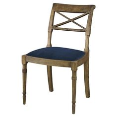 Bring a revival of style and spirit to your dining room with this neoclassical side chair. Century-old inspired carvings construct an elegant frame and the rustic brown oak tones down any hint of pretentiousness. Harbour blue velvet brings a welcome pop of color, perfect in any country or coastal interior.