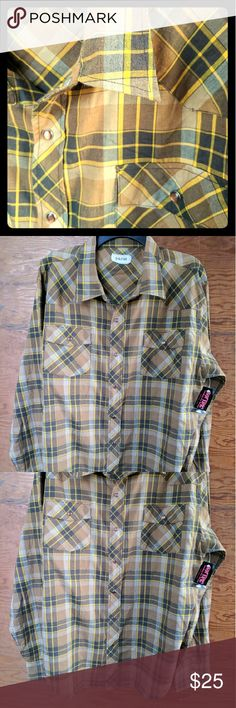 "Hot Topic XXL NWT Plaid Western mens shirt Parts This shirt is seriously awesome. By ""Parts"" brand, sold at Hot Topic. Snap front, yellow/orange/brown plaid. Size XXL. Be your sexy bearded hipster lumberjack self! And then send me pics of you wearing this. Lol. Hot Topic Shirts Casual Button Down Shirts"